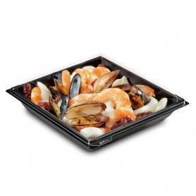 Assiette carrée noire Takipak + couvercle - Assiette avec couvercle pour transport - Assiette Jetable Traiteur
