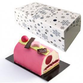boite bûche modèle hiver blanc  avec imprimé Joyeuses Fêtes - emballage boulangerie Noel
