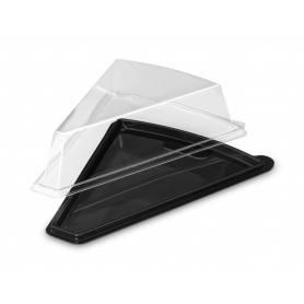support triangle noir avec couvercle transparent - présentation de part de tarte individuelle - vente à emporter boulangerie