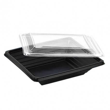 Boîte salade Pyramipack noire avec couvercle transparent amovible pour salade bar et vente à emporter rapide