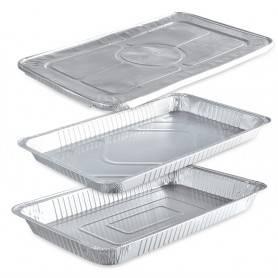 Plat rectangulaire gastonome sertissables en aluminium pour cuisson avec couvercle séparé - Spécial Traiteur