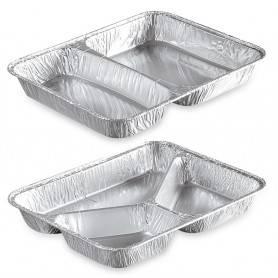 Plats compartimentés en aluminium - emballage aluminium - plateau aluminium compartimenté