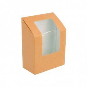 Boîte à wraps kraft avec fenêtre pour transporter deux wraps snacking