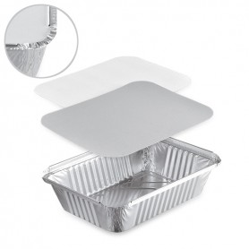 barquettes aluminium - plat à four sertissables en aluminium avec couvercle (opercule en carton)