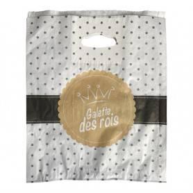 sac galette des rois avec poignées découpées renforcées. Sac kraft banc modèle Louis d'Or
