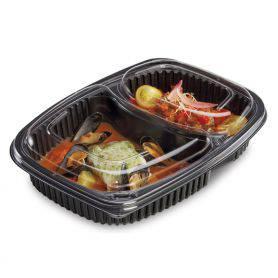 Boite noir cookipack 2 compartiments + couvercle boite alimentaire 1250 ml