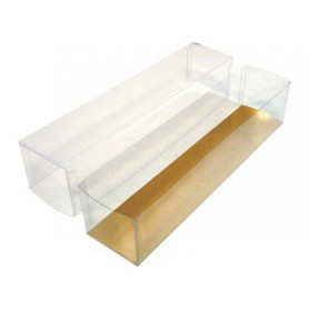 Etui pour macaron - Boîte à macaron - Boîte Pâtisserie Macaron transparente et or