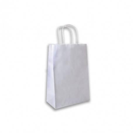 Sacs cabas kraft blanc poignées torsadées - Sac biodégradable en papier kraft blanc