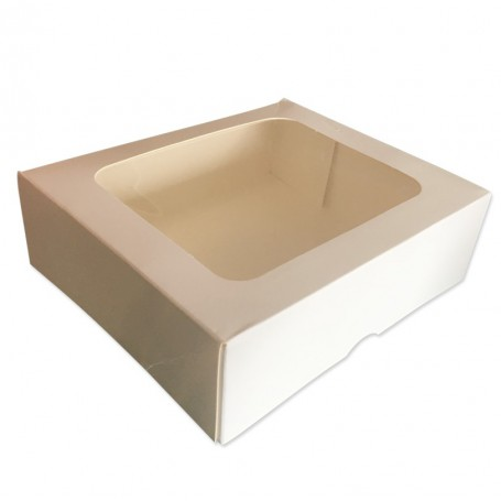 """5 x 14 /""""carré standard 2 pièces boîtes de gâteau blanc"""